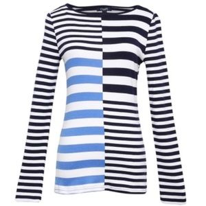 LIKE NEW Chaps Long Sleeve Striped Scoop Neck Top